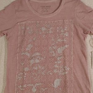 Lucky Brand Lace Applique T Shirt Top
